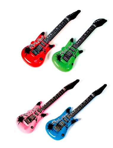 Children Musical Toy Pack of 12 Inflatable Rock Star Electric Guitar Assorted Colors(China (Mainland))