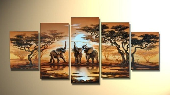 NEW 2014 125CMX60CM hand-painted famous oil painting high quality Modern artists painting African landscape DY-005(China (Mainland))