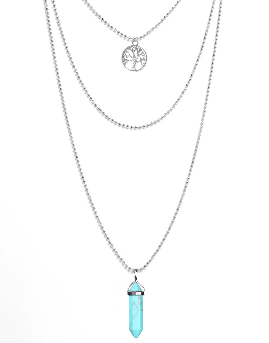 Wisdom Tree Necklaces White Turquoise Natural Stone Multilayer Pendant Necklace Silver Plated Chains Necklace Women JN2016004(China (Mainland))