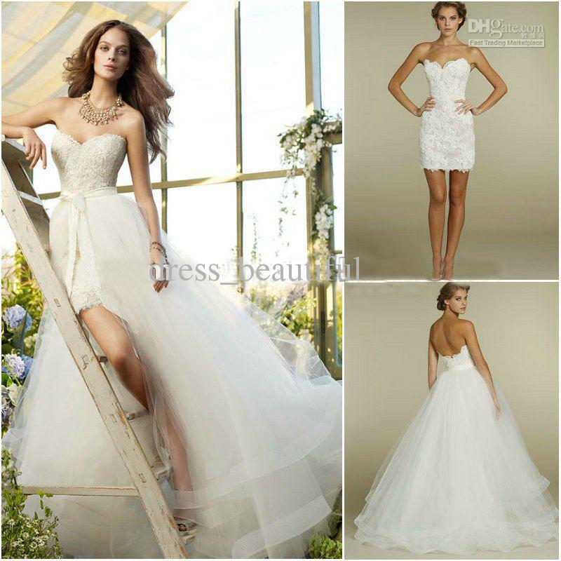 New sweetheart two piece design lace short mini bridal for Detachable train wedding dress