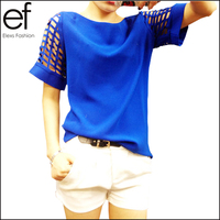 NEW! 2015 Europe Hot Selling Fashion Hollow Out Sleeve Women summer short sleeve blouse Plus Size Chiffon Blouse Shirt   EF1602