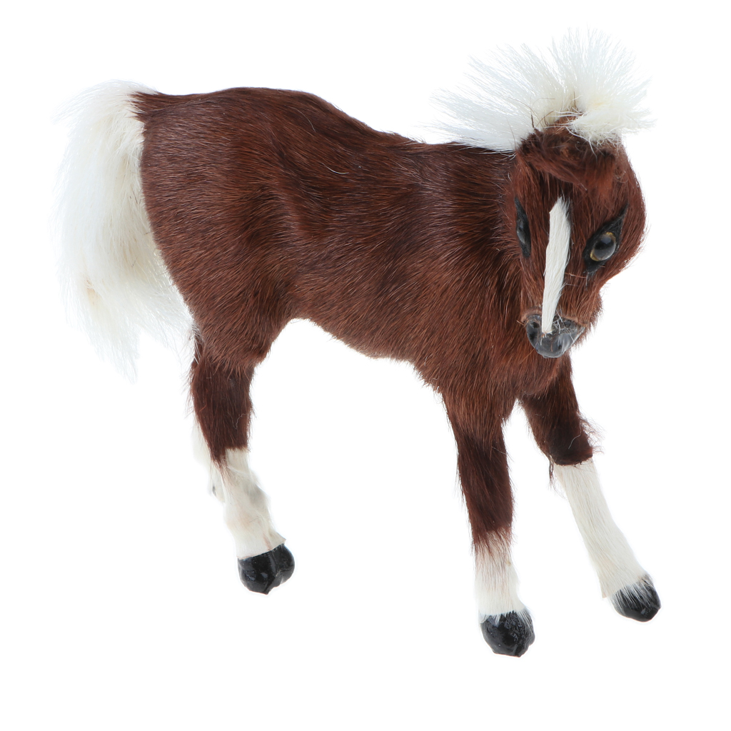 Simulation Faux Fur Horse/ Cat Model Kids Educational Toy Handicraft Collection Home Ornament