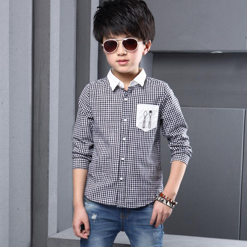 2016 Spring Long Sleeve Shirts for Boys Summer Style Children Cotton Plaid Top Brand Casual kids Dress Shirt(China (Mainland))