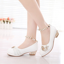 girls shoes  2016 spring princess  black white party formal pearls pink faux leather Footwear for girls 10 years old big size(China (Mainland))