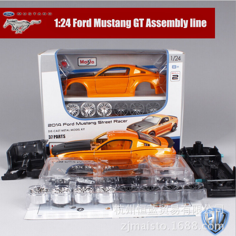 1:24 Scale kids Maisto Mustang SRT8 Camaro race car metal die cast vehicle kit assembly line collectible gift model sport cars(China (Mainland))