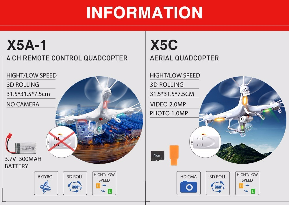 Original Syma X5C X5HC RC Helicopter with Camera HD X5HW (X5SW Upgrade) 2.4G FPV Wifi Real-time Sharing  4CH Drone  Toy