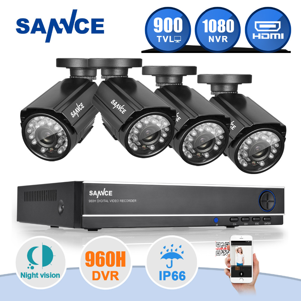 SANNCE 8CH HD 960H DVR 1080P NVR CCTV Home Security Camera System 4PCS IR Outdoor 900TVL Video Surveillance kit(China (Mainland))