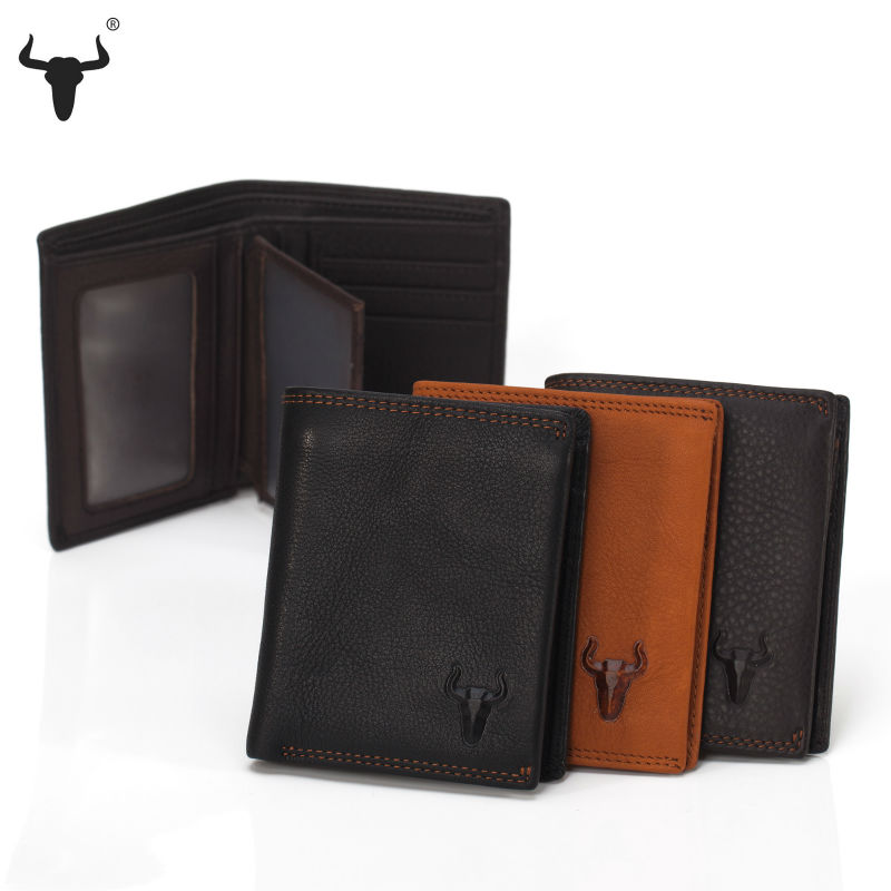 Soft Genuine Leather Wallet For Men Coin Wallets Mens Black Brown With zipper Poucht Photo Caed Holder Handmade High-Quality(China (Mainland))