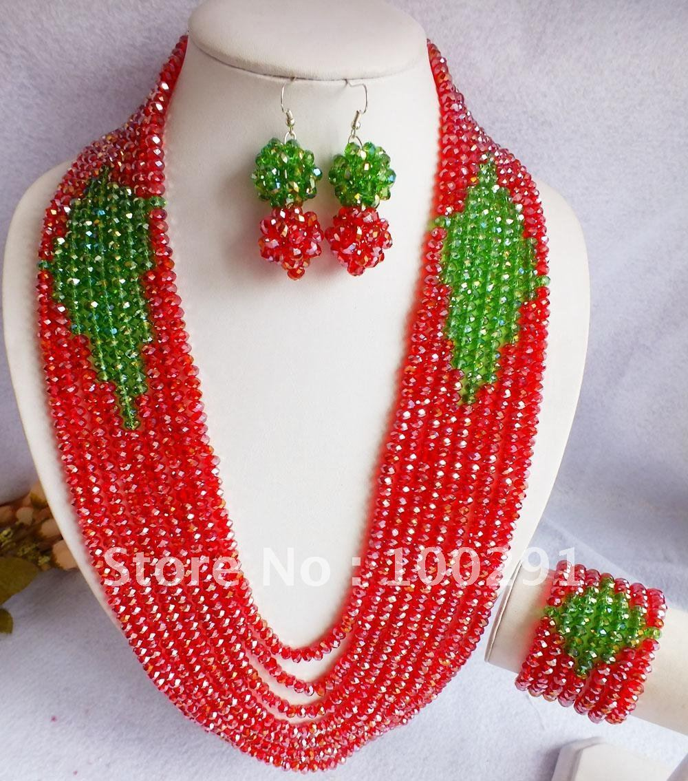 Free ship!!! Amazing 9rows red green crystal necklace @ earring set wedding party holiday jewelry gift(China (Mainland))