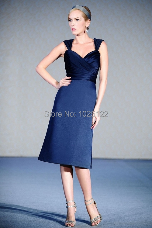 Sleeve Tea Length Ruched Dark Blue Bridesmaid Dress 2015 In Bridesmaid