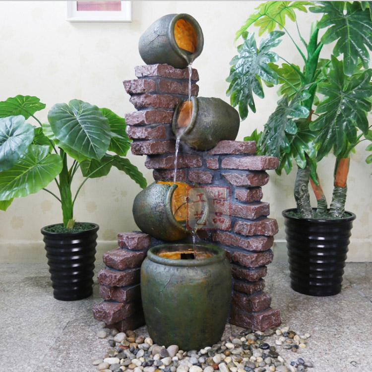 Large brick broken pottery fountain water view continental for Garden decking ornaments