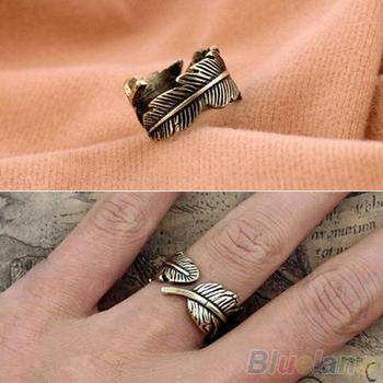 Антикварные женская мужская листьев перо безымянный палец кольцо мода ювелирные изделия ...