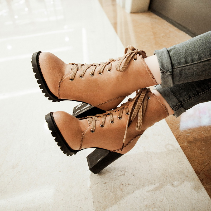 2015 new fashion women boots lace up high heels ladies boots autumn and winter thick heel shoes Martin Boots fenale hunter boots(China (Mainland))