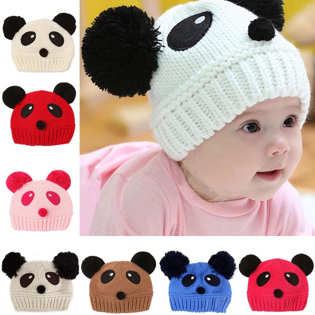 Lovely Animal Panda Baby Knitted Hats Kids Winter Keep Warm Crochet Beanie Caps HB88(China (Mainland))