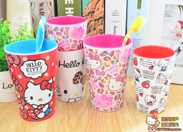 Bathroom Plastic Tooth Glass Rinsing Mug Cute Cartoon Hello Kitty Drinking Cup Lovely For Girls Daughter Kids(China (Mainland))