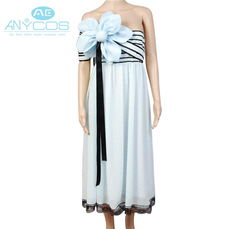 Tim Burton Alice In Wonderland Alice Uniform Light Blue Dress Movie Halloween Cosplay Costumes For Women Custom Made(China (Mainland))