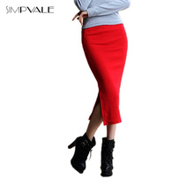2016 Summer Sexy Chic Pencil Skirts Office Mid Waist Mid-Calf Solid Skirt Casual Slim Hip Placketing Lady Skirts(China (Mainland))