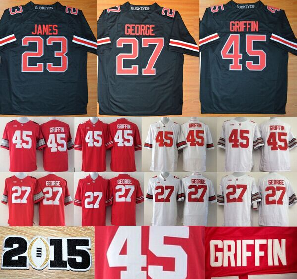 New Ohio State Buckeyes Blackout Gear 45 Archie Griffin Jersey 27 Eddie George 23 Lebron James Stitched Colleage Football Jersey(China (Mainland))