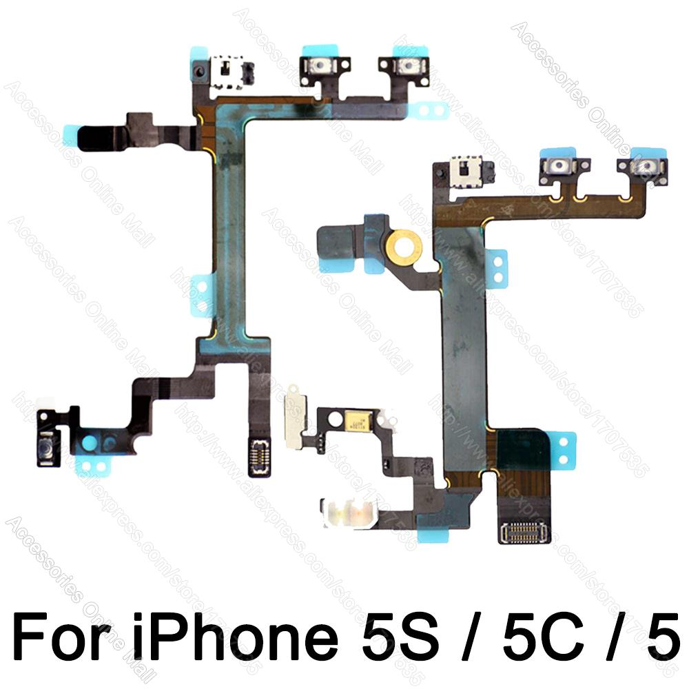 100% Original For iPhone 5s Volume Audio Mute Power Flex Cable For iPhone 5C 5 Spare Parts(China (Mainland))