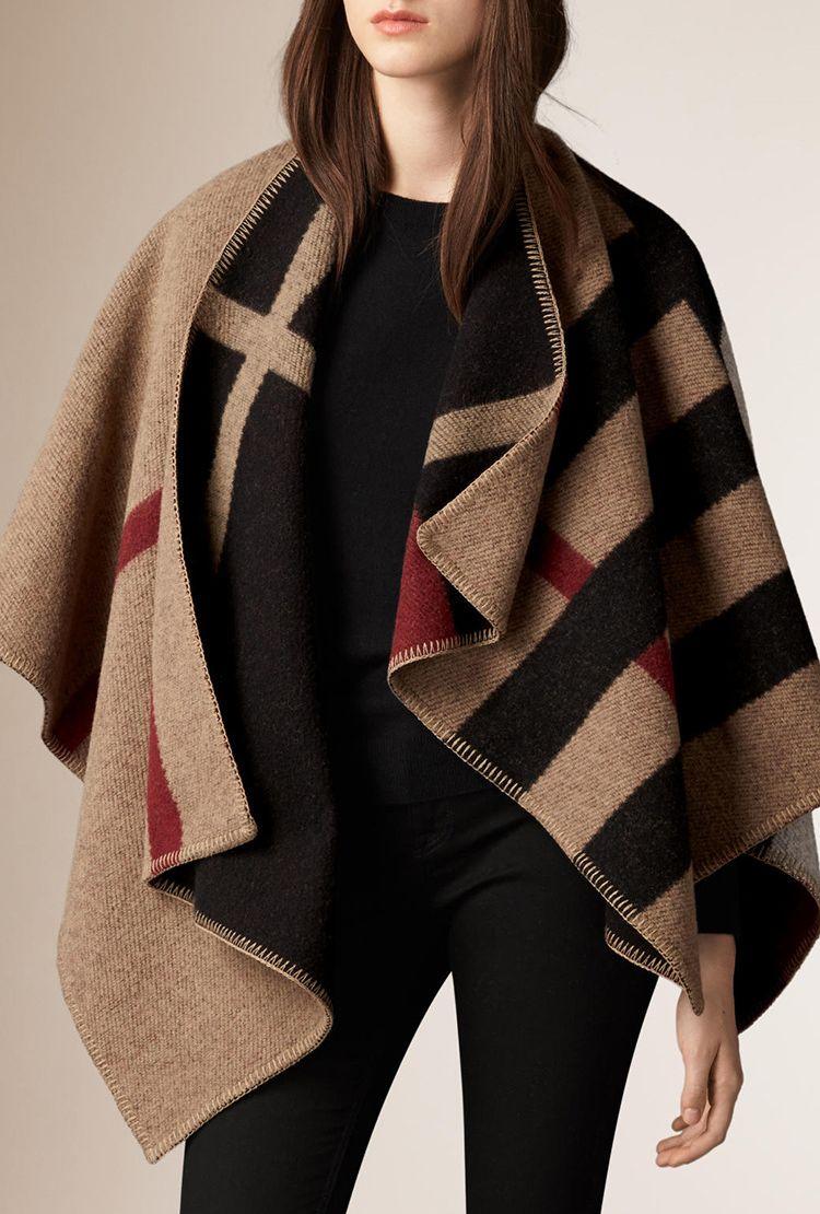 New 2015 Autumn winter brand designer winter women Cashmere Wool cape cloak coat custom letter#1205(China (Mainland))