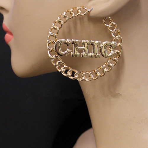 Free shipping hip hop heavy metal chic simple gold chain hoop earrings, hoop earrings Statement(China (Mainland))