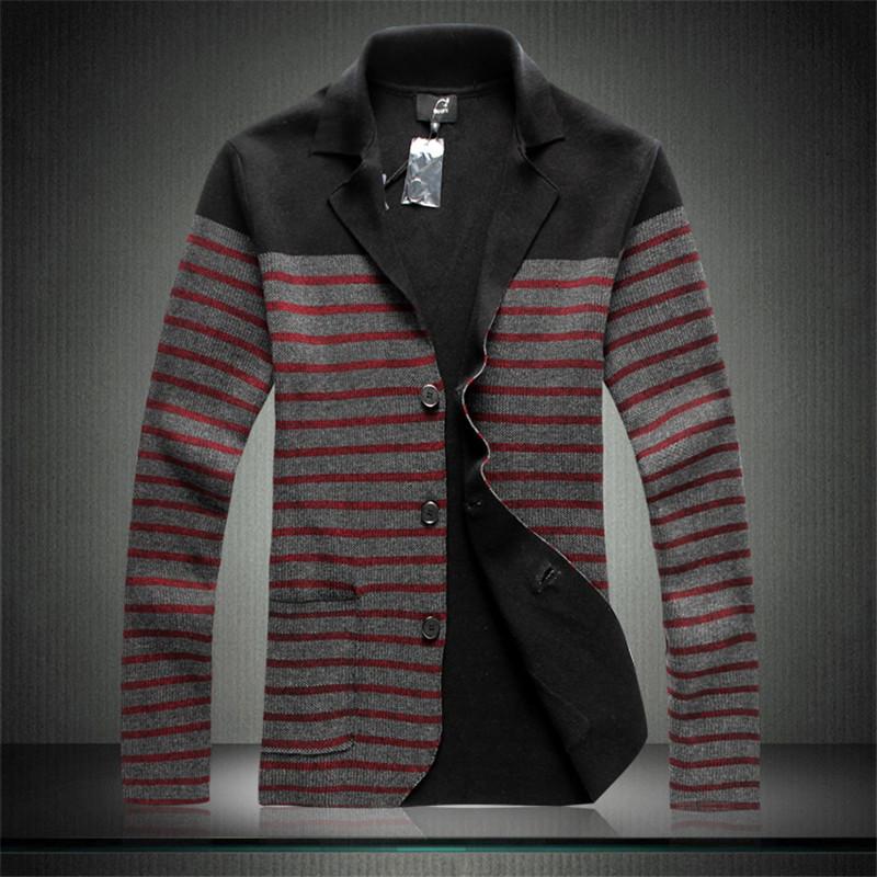 New Autumn Men Sweater Thin Casual Stripe Cardigans Cotton Sweaters Fashion Korea Style Size M L XL XXL XXXL A0635Одежда и ак�е��уары<br><br><br>Aliexpress
