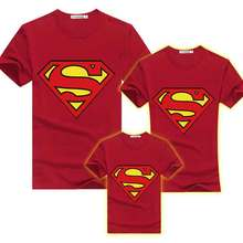 Summer Matching Family T Shirt Set Matching T Shirts Kids Superman Tee Boy Men Women O-neck T-shirts Mother And Daughter Clothes