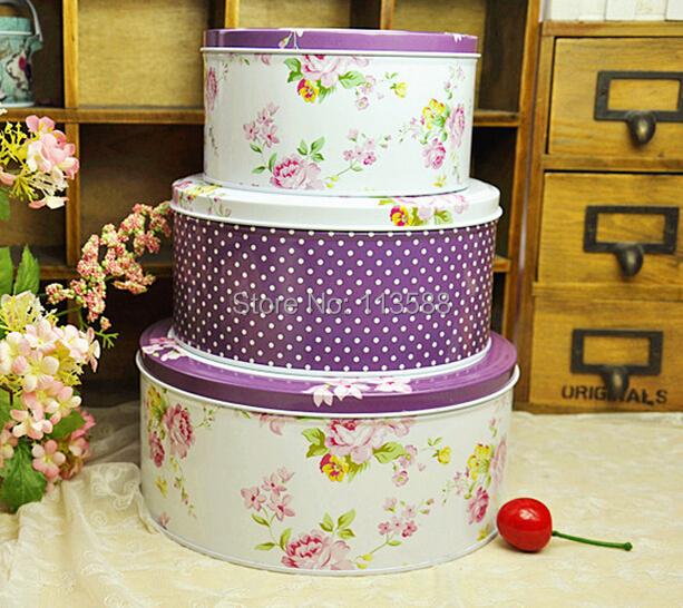 3pcs/set Purple Dot Flowers Round handmade tin box set,sweet candy box,decoration storage box,best gift for children HD0409(China (Mainland))