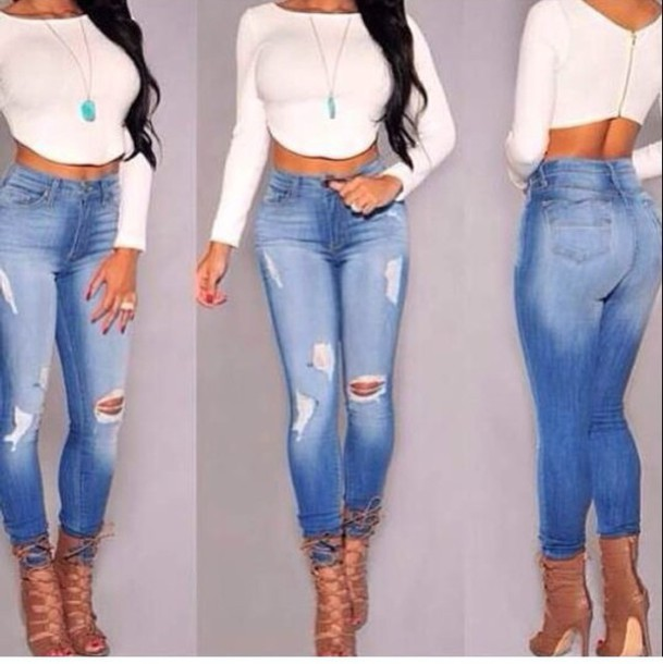 Women Push Up Jeans Skinny Long Denim Hot Jeans Pants 2015 Summer Fashion Tight Jeans Pants High Waist Ripped Jeans Plus Size(China (Mainland))