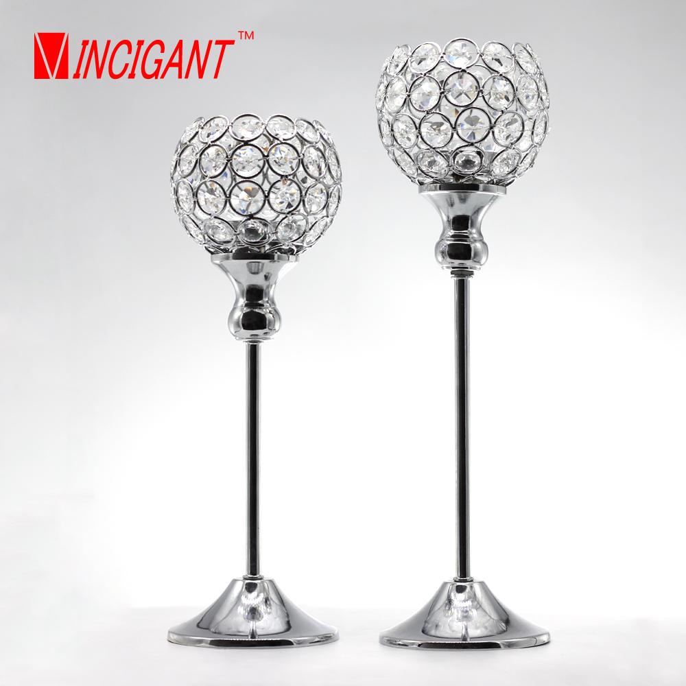 VINCIGANT crystal candle holder metal wedding candlestick for table centerpiece decoration candelabra Yankee candle lantern set(China (Mainland))