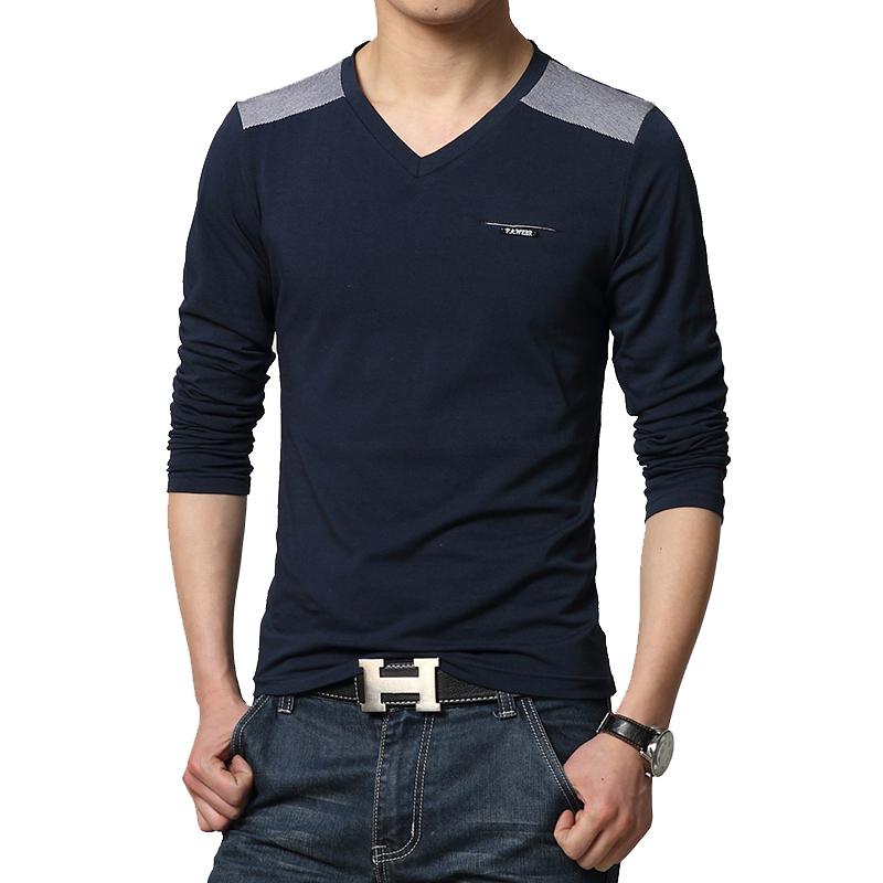 2016 spring new brand men 39 s t shirt fashion v neck for Branded v neck t shirts