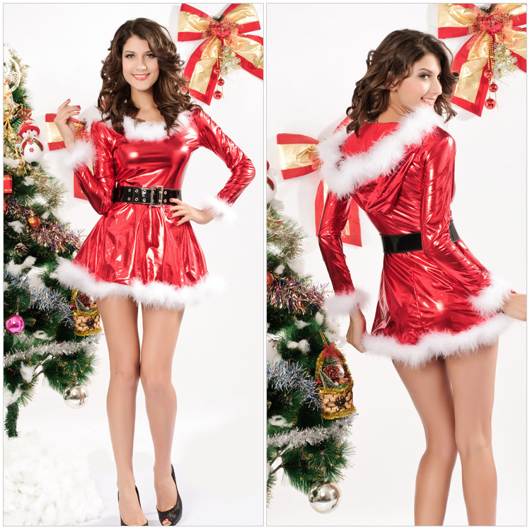 Free Shipping 2014 New Sexy Miss Santa Christmas Costume Set DL7205 Free Size Women Christmas Dress Vestidos(China (Mainland))