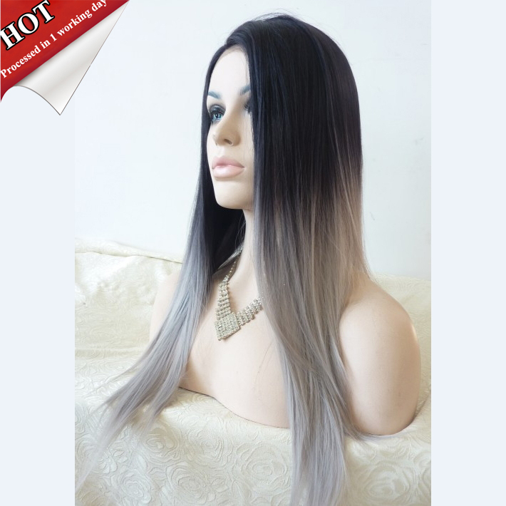 Silk Straight Ombre Silver Grey Synthetic Lace Front Wig Glueless Two Tone Natural Black/Grey Heat Resistant Hair Wigs For Women(China (Mainland))