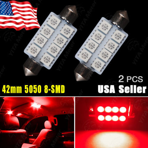 2Pcs Car Light Lights Pure Red 42MM 5050 8SMD Festoon LED Bulb Lamps Dome Map Interior LED Light Bulbs 569 578 Free Shipping -A(China (Mainland))