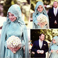 Oumeiya OWD807 A line Tulle Chiffon Beaded Lace Appliqued Aqua Green Long Sleeve Hijab Muslim Wedding