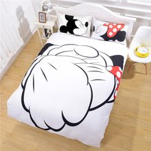 Special Counter Handshake Mickey Mouse Bedding Set Fashion Style Bedlinen Qualified Quilt Cover Gifts for Home Twin Full Queen(China (Mainland))