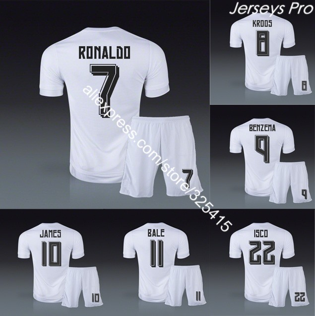 Camisetas Real madrid 2016 home soccer uniforms football kits jerseys cristiano ronaldo benzema bale danilo zidane isco modric(China (Mainland))