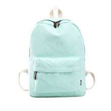 Fashion canvas backpacks for middle school girls candy color solid canvas outdoor camping bag mochila feminina #5208(China (Mainland))