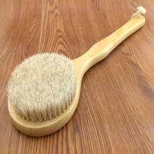 New Natural Bristle Long Horse Hair Handle Wooden Wood Bath Shower Body Back Brush Spa Scrubber(China (Mainland))