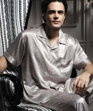 2012 NEW ! High quality Fashion Letter Men's Silk Pajamas for Silk night wear(China (Mainland))