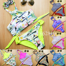 2016 New Fashion Women Sexy Casual Brazilian Print Patchwork Striped Bandage Bikini Set Swimsuit Swimwear Beach Suit Size S,M,L