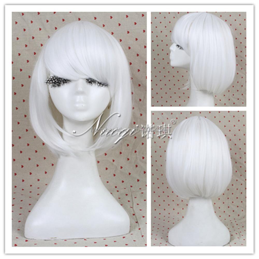 FREE SHIPPING^^^^^HOT Fashion Lolita Bob Lady GaGa Women White Short Straight Cosplay Wig(China (Mainland))