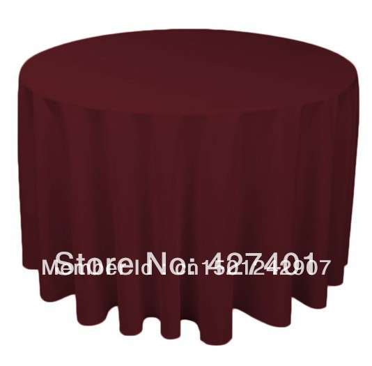 Hot sale 120 terra cotta round table cloth polyester for 120 round table cover