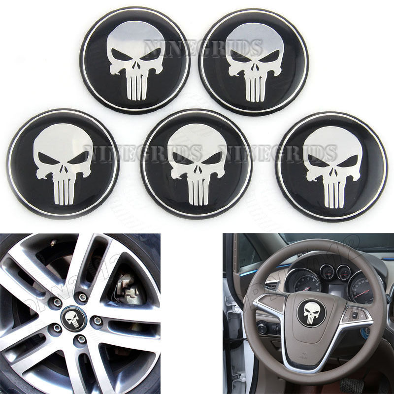 1+4 Pieces Punisher Skull Emblem Car Steering Tire Wheel Center Caps Hub Alloy Stickers Cover 60mm Avengers #2480*5(China (Mainland))