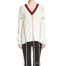 2016 Luxury Fashion Brand Sweater Women Hollow Out Striped V-Neck Long Sleeve Knitted Pullover With Tassel Pull Femme