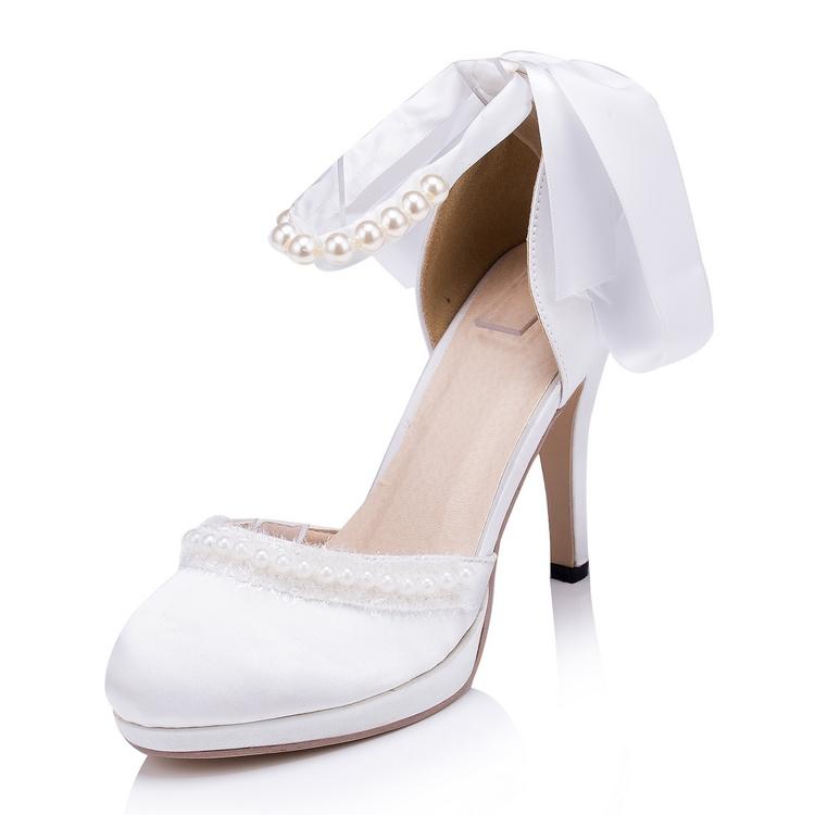 Ankle Strap Ribbon Pearls Women Wedding Shoes White/Ivory Spring Autumn Women Party Pumps High Heel Platform EU33-41 616