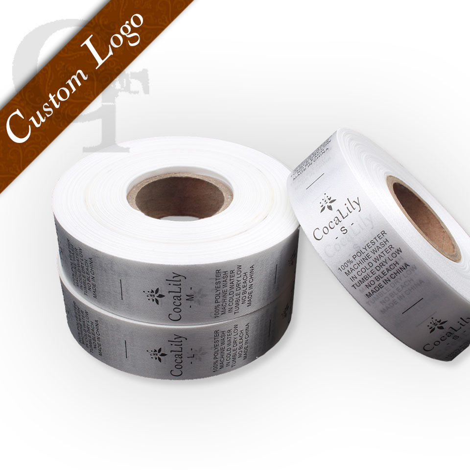Free shipping customized/custom design garment/clothing printed silk material wash label/ care labels(China (Mainland))