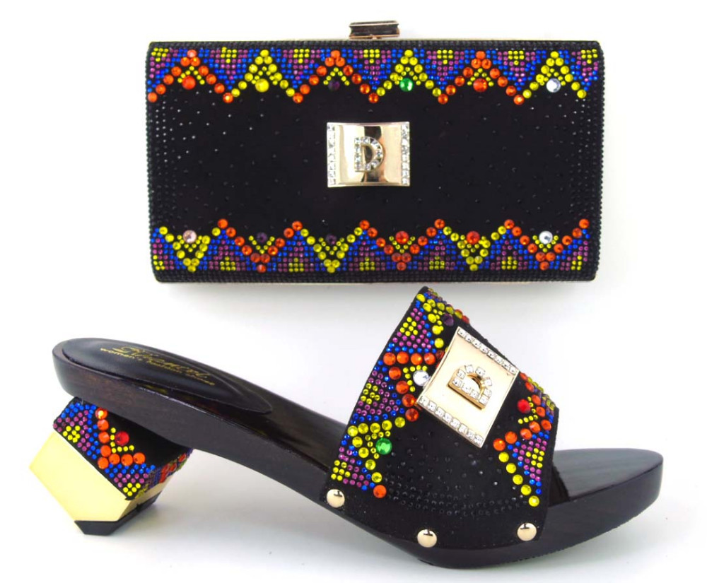 TH16-45 Hot sale Italian ladies shoes and matching bag with rhinestone, top quality African style shoes and bag for party!