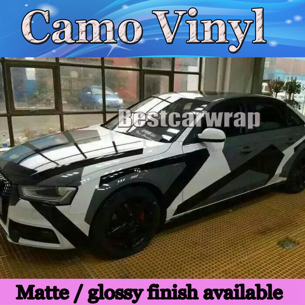 2016 Pixel Camo Vinyl Black white grey Car Wrap Sticker Big Arctic Camouflage Film Car Sticker Air Free 1.52x30m/Roll 5x98ft(China (Mainland))
