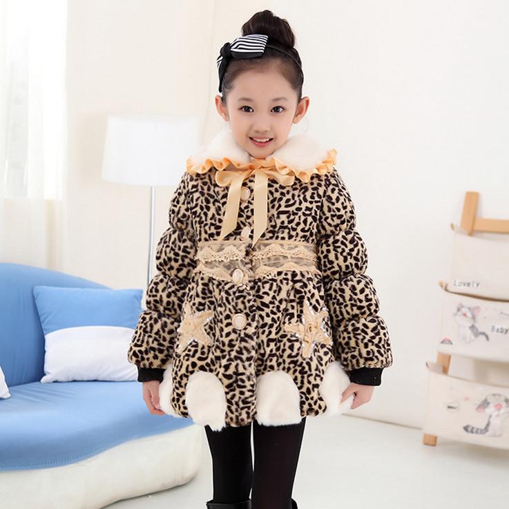 New 2015 Baby Girls Leopard Faux Fur Coat Winter High Quality Fashion Cute Warm Fur Coat Kids Lovely Outwear Roupas de Menina